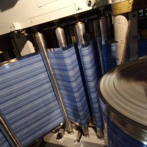 blue roll stock in production process